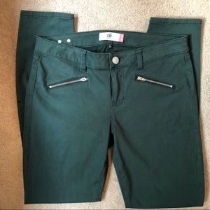 Cabi Skinny ZIP Jeans Soft Hunter Green Size 10